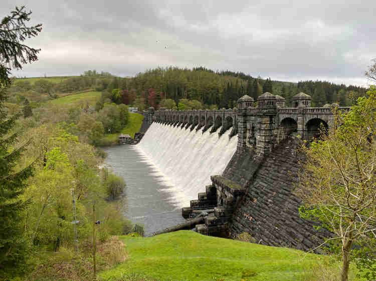Lake Vyrnwy dam after a wet spell