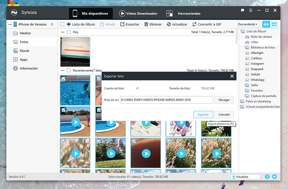Syncios. El mejor programa para descargar las fotos y videos de tu iphone si usas PC