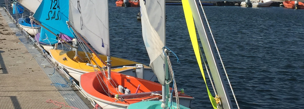 Hansas lined up along the pontoon