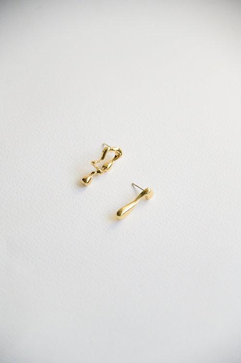 Havana Mismatched Earrings in gold (S925)