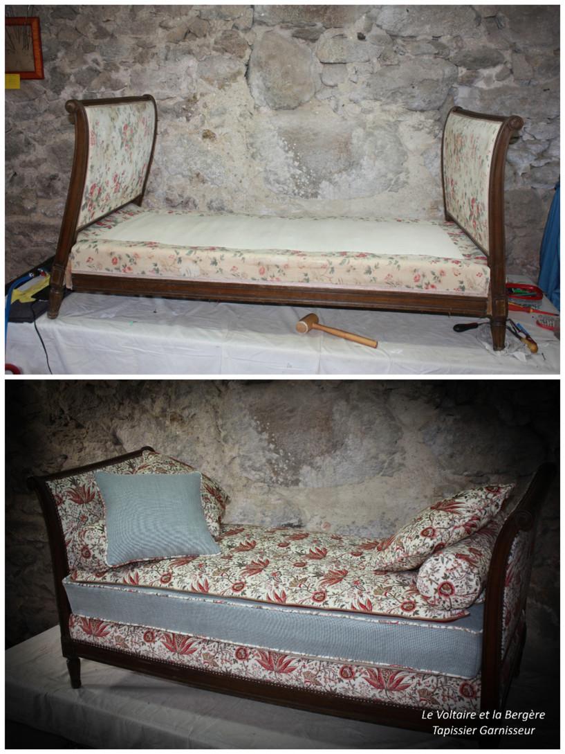 Jolie méridienne en crin entièrement restaurée  Avec coussins , boudins et dessus de lit