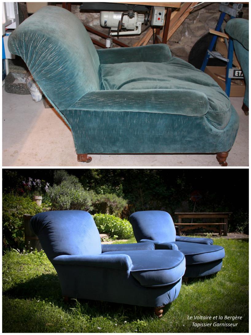 Bergères de repos style fauteuil anglais