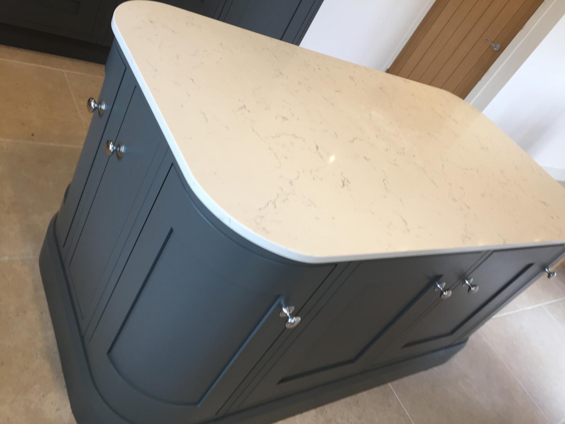 Bespoke inframe painted Oak fitted kitchen in Light Grey & Slate Grey. Quartz worktops and Neff applainces