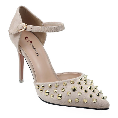 Shuberry SB-902 Suede Beige Heels For Women & Girls