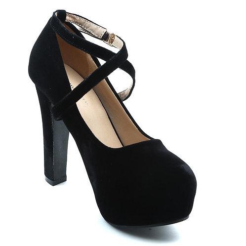 Shuberry SB-19034 Velvet Black Heels For Women & Girls