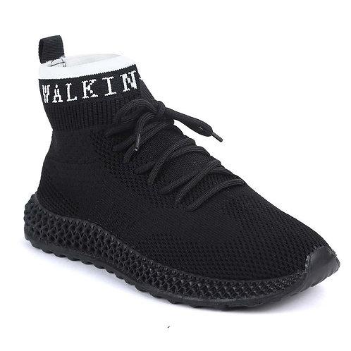 Shuberry SB-19062 Fabric Black Sock Sneakers  For Women & Girls