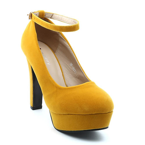 Shuberry SB-19033 Velvet Yellow Heels For Women & Girls