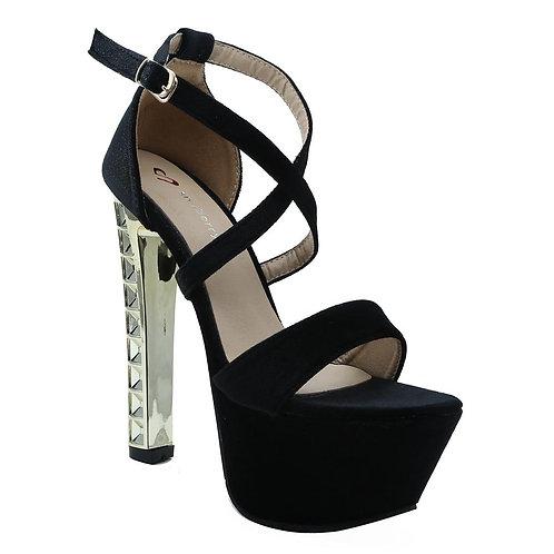 Shuberry SB-19024 Velvet Black Heels For Women & Girls