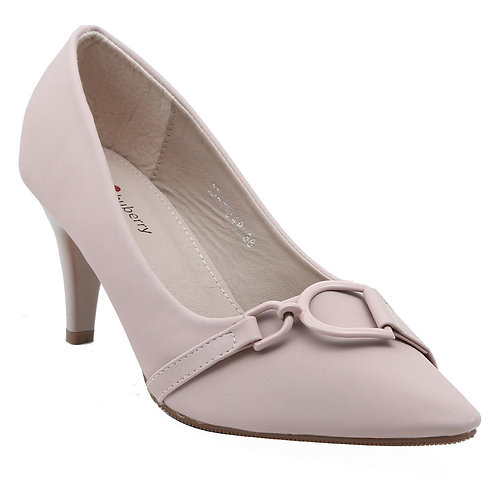 Shuberry SB-19048 Faux Leather Peach Pumps For Women & Girls