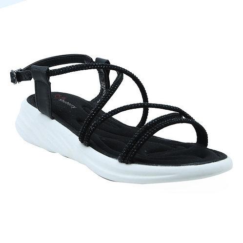 Shuberry SB-19077 Faux Leather Black Sandal For Women & Girls