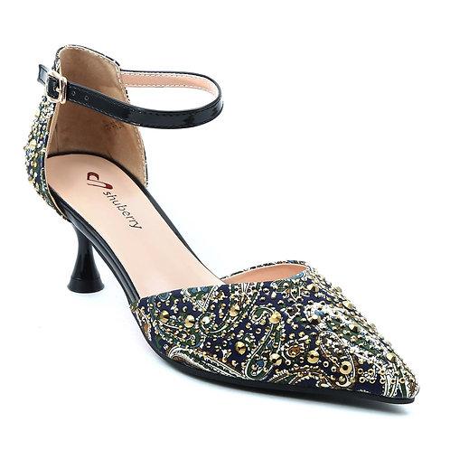 Shuberry SB-19011 Fabric Navy Heels For Women & Girls