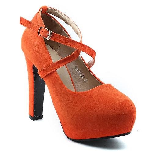 Shuberry SB-19070 Suede Orange Heels For Women & Girls