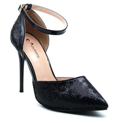 Shuberry SB-19009 Sequin Black Heels For Women & Girls