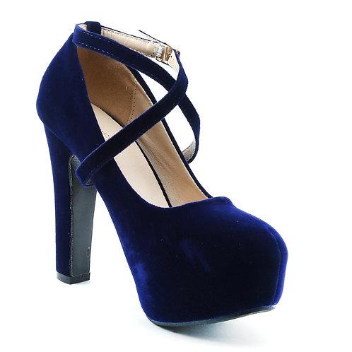 Shuberry SB-19034 Velvet Navy Heels For Women & Girls