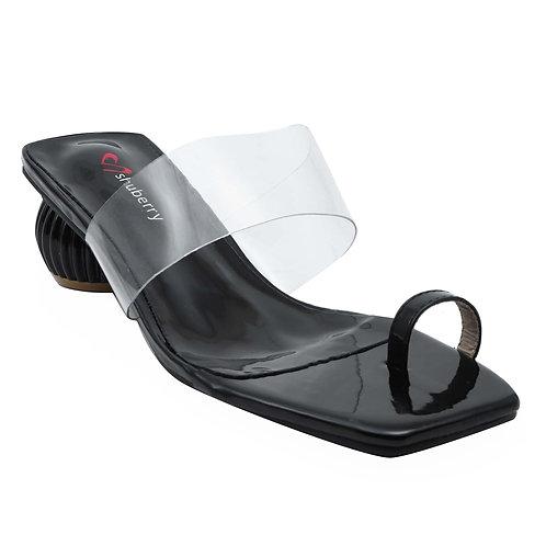 Shuberry SB-19012 Patent Black Sandal For Women & Girls