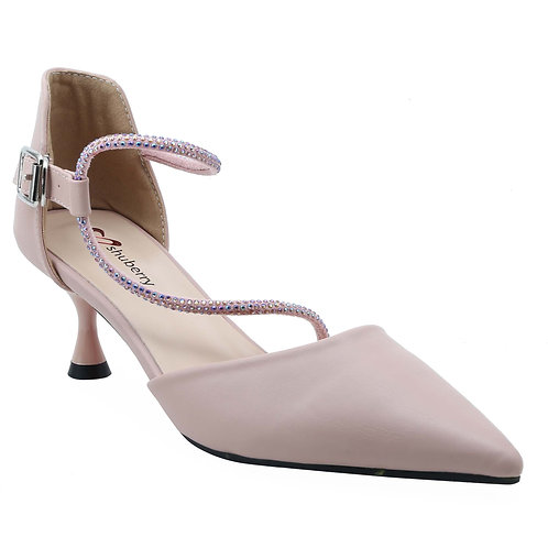Shuberry SB-19016 Artificial Leather Peach Heels For Women & Girls