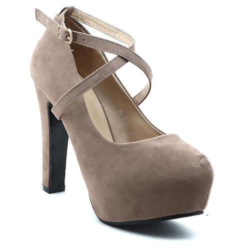 Shuberry SB-19034 Velvet Khaki Heels For Women & Girls