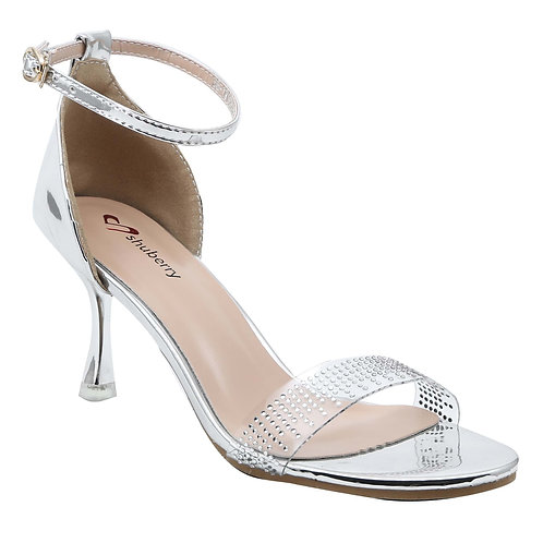 Shuberry SB-19003 Patent Silver Heels For Women & Girls