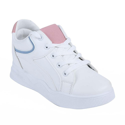 Shuberry SB-19067 Artificial Leather White & Pink Sneaker For Women & Girls