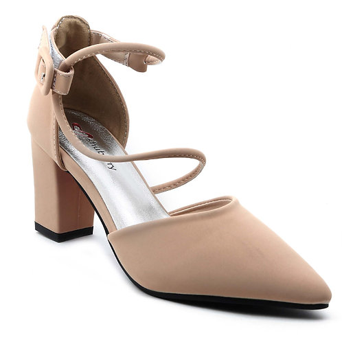Shuberry SB-19018 Faux Leather Beige Heels For Women & Girls