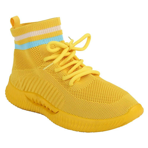 Shuberry SB-19068 Fabric Yellow Sock Sneakers  For Women & Girls