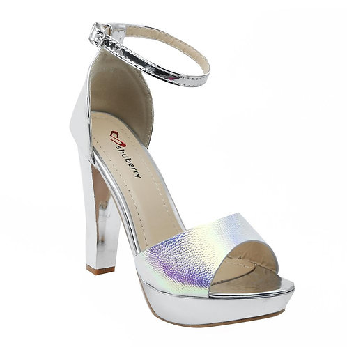 Shuberry SB-19030 Patent Silver Heels For Women & Girls