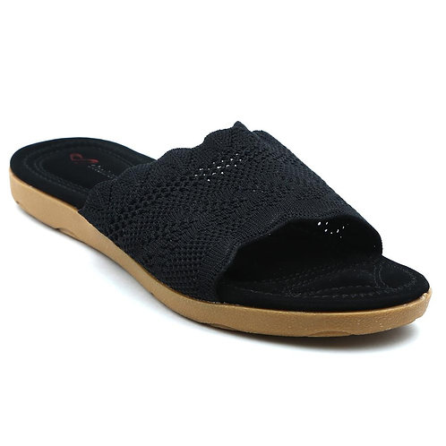 Shuberry SB-19055 Fabric Black Flats For Women & Girls