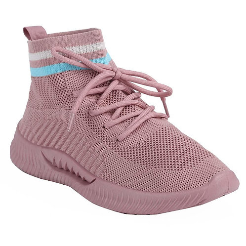 Shuberry SB-19068 Fabric Pink Sock Sneakers  For Women & Girls
