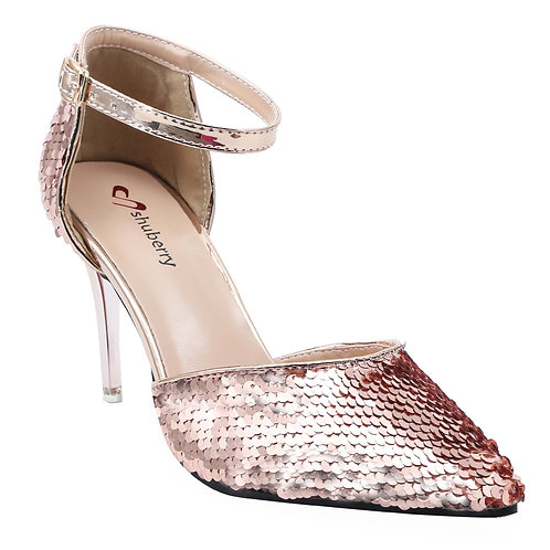Shuberry SB-19008 Sequin Champagne Heels For Women & Girls