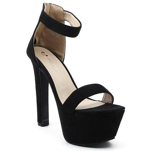 Shuberry SB-19023 Suede Black Heels For Women & Girls