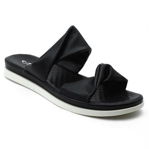 Shuberry SB-19074 Faux Leather Black Sandal For Women & Girls