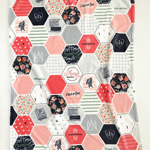 LDS Hexagon Blanket - Floral Faith