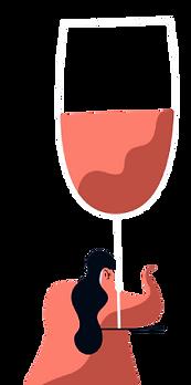 un bicchiere di vino in mano a una donna