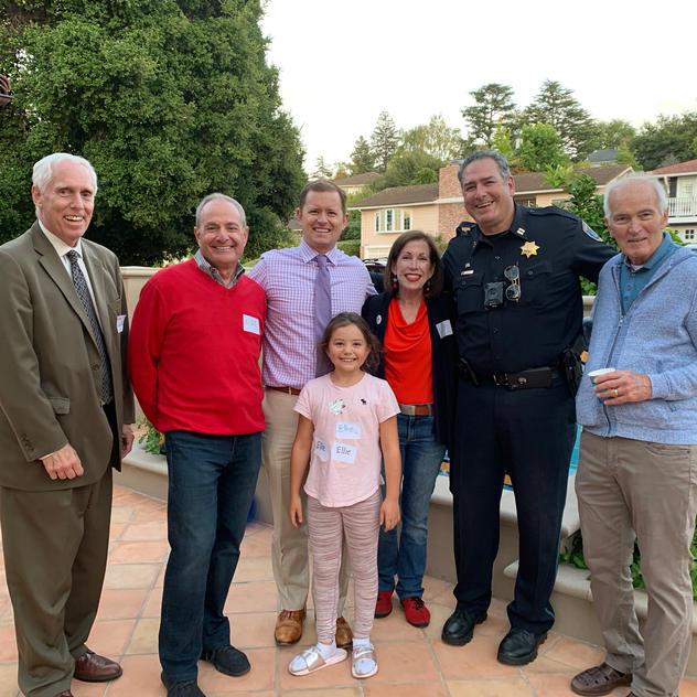 San Mateo Neighborhood Watch Board National Night Out 2019 with San Mateo County DA Steve Wagstaffe, Michael Nash, Mayor Joe Goethals and Capt. Dave Norris