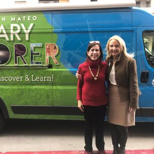 "Lisa and former San Mateo Public Library Foundation Board President Ann Girard at San Mateo Library ""Mateo"" vehicle launch"