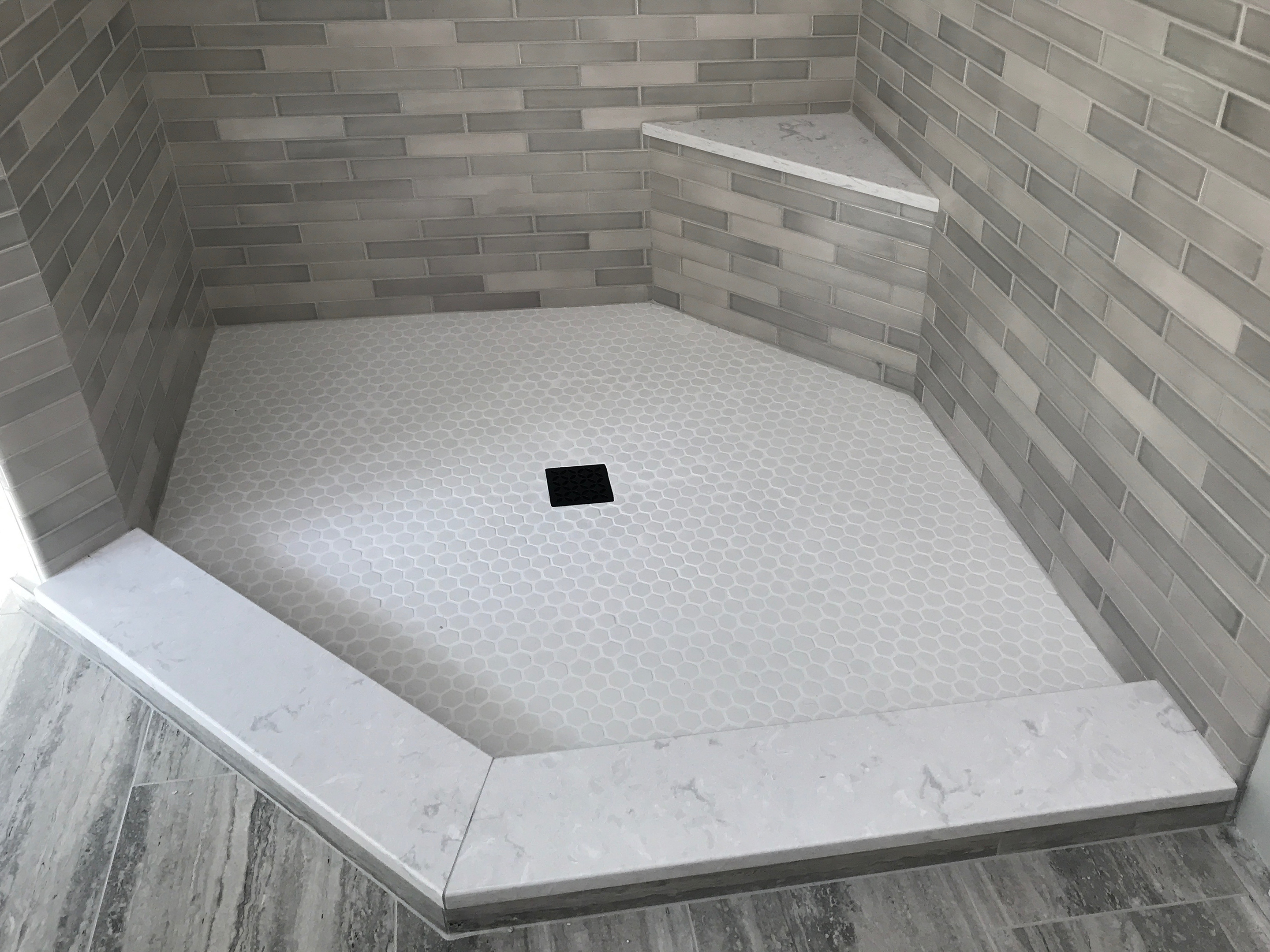 Madison, CT Shower Floor 1 x 1 Hex Bright White Satin