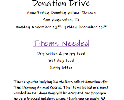 It's Donation Drive Time! Nov. 12th- Dec. 15th