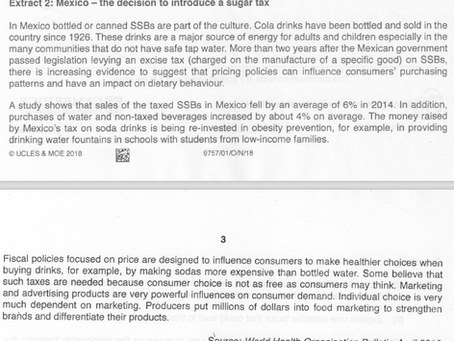 2018 GCE A Levels Economics Paper 1 Micro Answers: Rational Decision Making of Consumers of SSBs