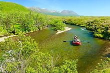 An Alaska Fly Anglers group heads down American Creek.