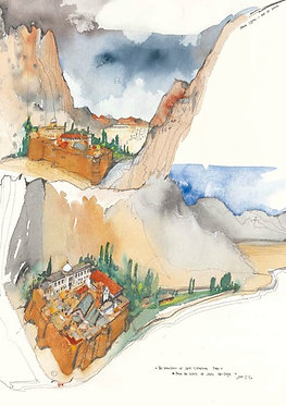 'The Monastery...from the slopes of Jebel Ad-Dayr' greeting card