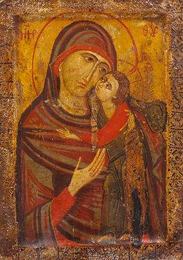 'The Virgin Glykophilousa' greeting card