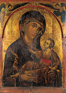 'Icon with the Virgin Hodegetria Aristerokratousa' greeting card