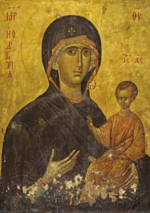 'Icon with the Virgin Hodegetria' greeting card