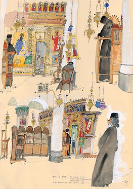 'Monks at Prayer' greeting card