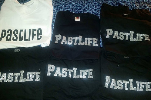 Past Life T Shirts come in multiple colors Blk Wht Red Blue Pink