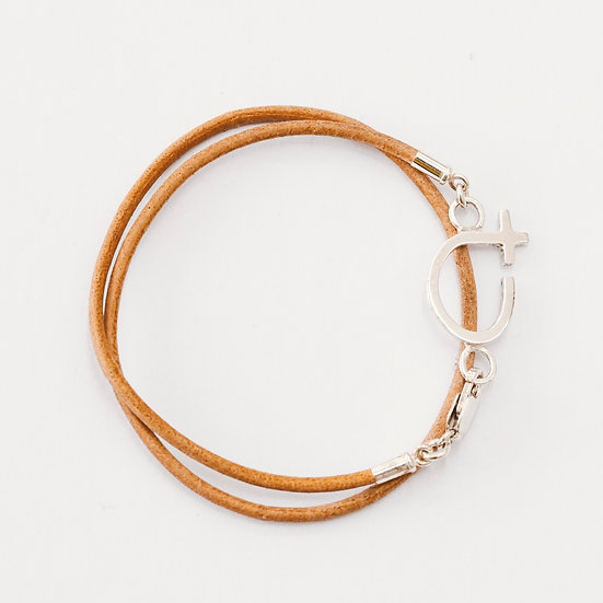 Double Leather Fine Courage Bracelet
