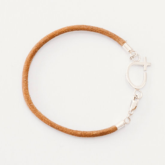 Single Leather Fine Courage Bracelet