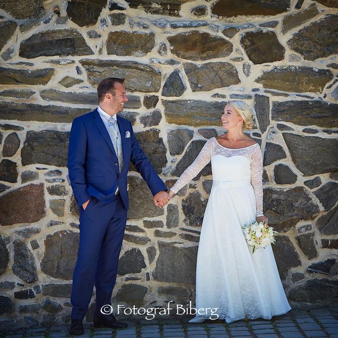 Bryllupsfoto i deilig vær på Akershus Festning