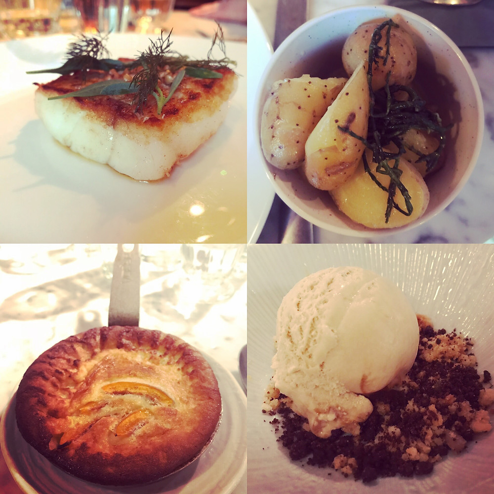 cod, potatoes, clafoutis & ice-cream