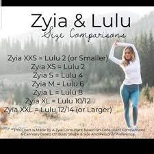 ZYIA & LULU Size Comp Chart